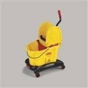 WaveBrake Dual-Water Down-Press Bucket/Wringer Combo, 33.1l Yellow
