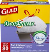 Glad OdorShield Tall Kitchen Drawstring Trash Bags, Lavender, 49.2l, 80 Count