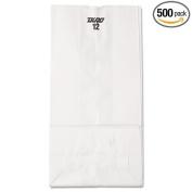 12# Paper Bag, 18kg, White, 7 1/16 x 4 1/2 x 13 3/4, 500/Pack