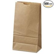 6# Paper Bag, 16kg Kraft, Brown, 6 x 3 5/8 x 11 1/16, 500/Pack