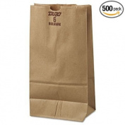 6# Paper Bag, 23kg Kraft, Brown, 6 x 3 5/8 x 11 1/16, 500/Pack