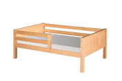 Camaflexi Day Bed with Front Guard Rail and Panel Headboard, Natural Finish