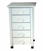 Mobile 5 Drawer Cart in White Finish w Matching Handles