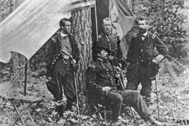 New 5x7 Photo: Hancock & Generals at Petersburg