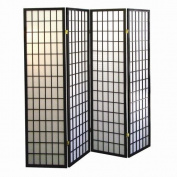 4-panel Shoji Screen Room Divider, Black