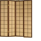 Fabric in Lay Folding Room Screen Divider in Cherry Finish Wood 4 Panels