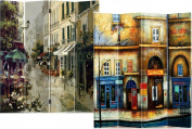 Roundhill 4-Panel Double Sided Painted Canvas Room Divider Screen