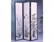 3-Panel Flower Design Wood Shoji Screen / Room Divider