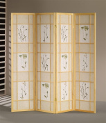 ADF 5442-4 4-Panel Shoji Screen with Natural Finish Frame