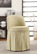 Coaster Home Furnishings 900072 Linen Fabric Swivel Vanity Stool with Skirt, Beige