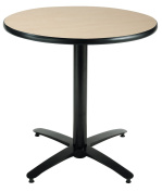 KFI Seating Round Pedestal Table with Arched X Base, Commercial Grade, 80cm , Natural Laminate, Made in the USA