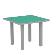 POLYWOOD AT36FASAR Euro 90cm Square Dining Table, Silver Aluminium Frame, Aruba