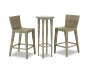 Manzano Bar Set, Includes 2 Chairs and 1 Bar Table with Glass, Silver