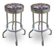 New Superman Themed Fabric Swivel Seat Bar Stools! 70cm Seat Height with a Chrome Finish