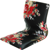 Oriental Furniture Japanese Style Game Chair, Tatami Meditation Backrest Chair, Black and Red Hibiscus