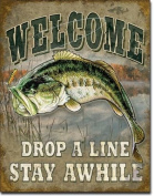 Welcome Bass Fishing Tin Sign 41cm X 32cm , 12x 16