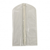 Household Essentials Suit Storage Protector, Clear Vinyl Cover with Natural Canvas Trim