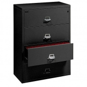 Fireking Fireproof Lateral File Cabinet (4 Drawers, Impact Resistant, Waterproof), 100cm W x 60cm D, Black, Made in USA