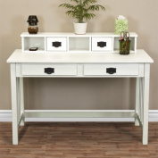 Mission White Solid Wood Writing Desk Home Office Computer Desk