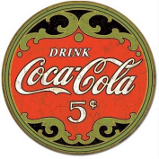 Coca-Cola Round 5 Cents Distressed Retro Vintage Tin Sign
