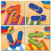 Set of 4 Flip Flops Beach Sand Prints Orange Blue Green Ocean by Paul Brent 8x8