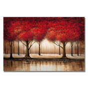 Trademark Fine Art Parade of Red Trees by Master's Art Canvas Wall Art, 90cm x 120cm