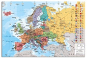Europe Map With Flags Wall Chart Poster - 91.5 x 61cms
