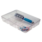 InterDesign Rain Cosmetic Drawer Organiser Tray for Vanity Cabinet to Hold Makeup, Beauty Products - Clear