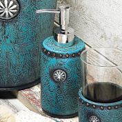 Turquoise Tooled Leather Lotion Pump