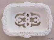 Cast Iron Victorian Soap Dish ~ Antique White