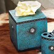 Turquoise Tooled Leather Tissue Box