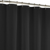 Maytex Water Repellent Fabric Shower Curtain or Liner, Machine Washable, 70 x 72, Black