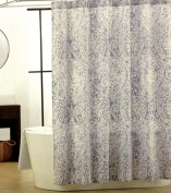 Tahari Nedie Shower Curtain Grey Paisley with Silver Highlights