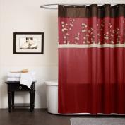 Triangle Home Fashions 19259 Lush Decor Cocoa Flower Shower Curtain