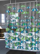 Splash Home PEVA Shower Curtain, 180cm by 180cm , Umbrella Jade