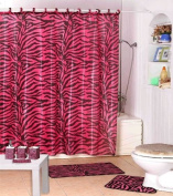 Shower Curtain Kids Jungle Safari Pink Zebra Design with Decorative Roller Rings/hooks