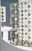 Tortoise Retro Circles Geo Dots Vinyl Shower Curtain