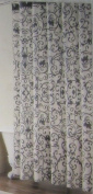 Charcoal Grey Scroll Print on Ivory Cotton Shower Curtain
