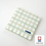 KUSUBASHI MON-ORI [Imabari Towel] DOUBLE STAR presso Point Cheque Bath Towel, Green