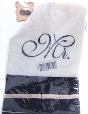 Elegant Mr. and Mrs. Black and Cream White Linen Guest Towels Set of 2 Mud Pie