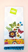Jo-ann's Spring Inspiratios Kitchen Hand Towel,quilted Look Spring Flowers,pompoms