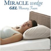 Gel Memory Foam Wedge Pillow for Acid Reflux. Cool Temp Wedge Pillow for GERD, Sleep Apnea, Snoring. 60cm L, 60cm W, 19cm H