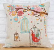 Cotton Linen Bird Cage Lumbar Cushion Cover Pillowcase 46cm by 46cm