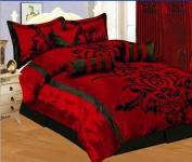 7 PC MODERN Black Burgundy Red Flock Satin COMFORTER SET / BED IN A BAG - QUEEN SIZE BEDDING