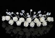 Ivory Ceramic Rose Handmade Wedding Bridal Tiara Headband