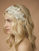 Floral Sculptured Ivory Lace Crystal & Bead Wedding Bridal Headband