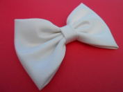 Ivory Satin Hair Bow.