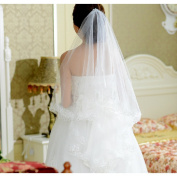 CIMC LLC 1T 1 Tier Bridal Sequined Veil with Lace Hem,Ivory
