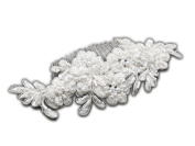 Elegance Collection - Top Selling White Beaded Lace Applique Wedding Comb