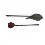 1928 Company Jet Black Leaf and Ladybug Bobby Pins